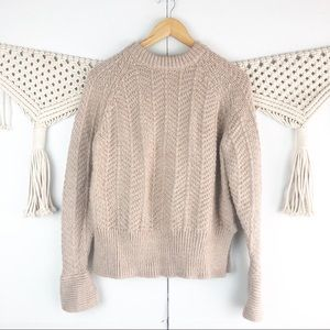 H&M Sweaters - ⭐️ H&M Tan Sweater Crewneck Cable knit size Small